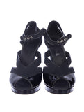 CHANEL Women Black Canvas & Patent Leather Platform Sandals Heels Shoes 38.1