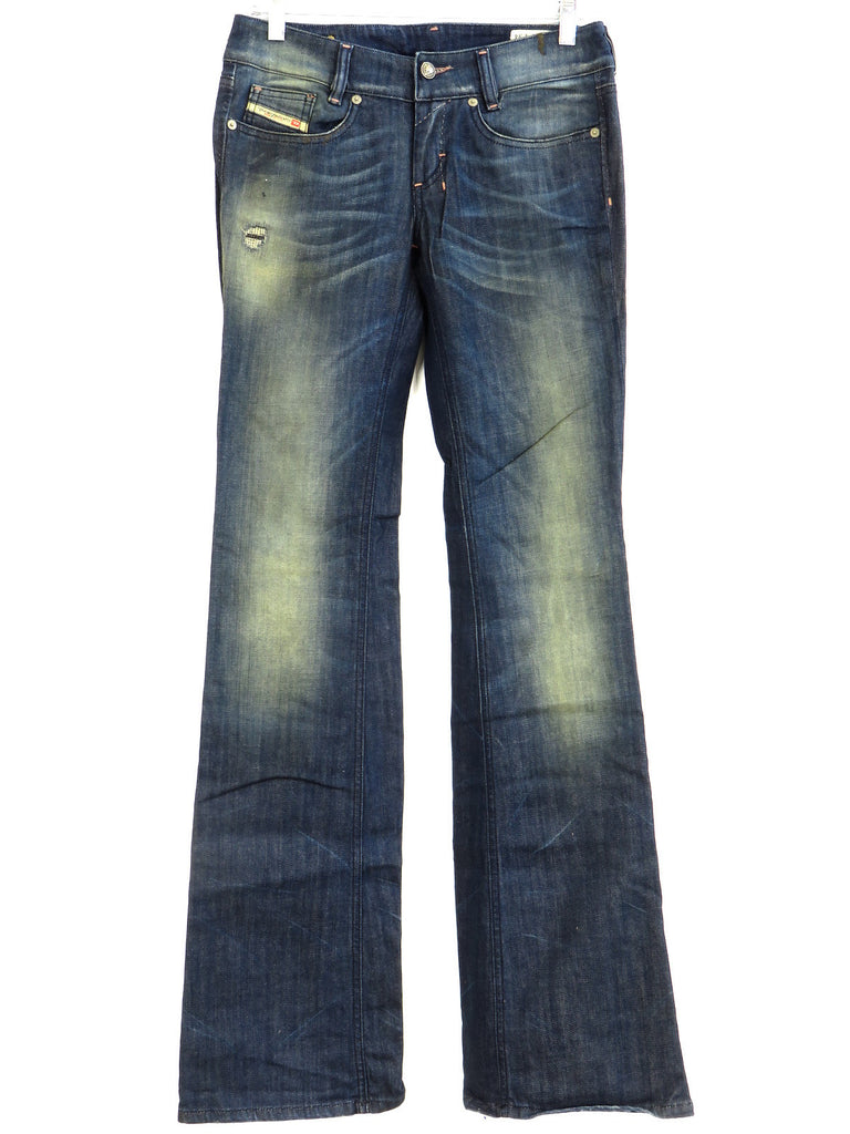 NEW! DIESEL Women Blue Medium Wash LOUVELY Faded Stretch Boot cut Jeans 27