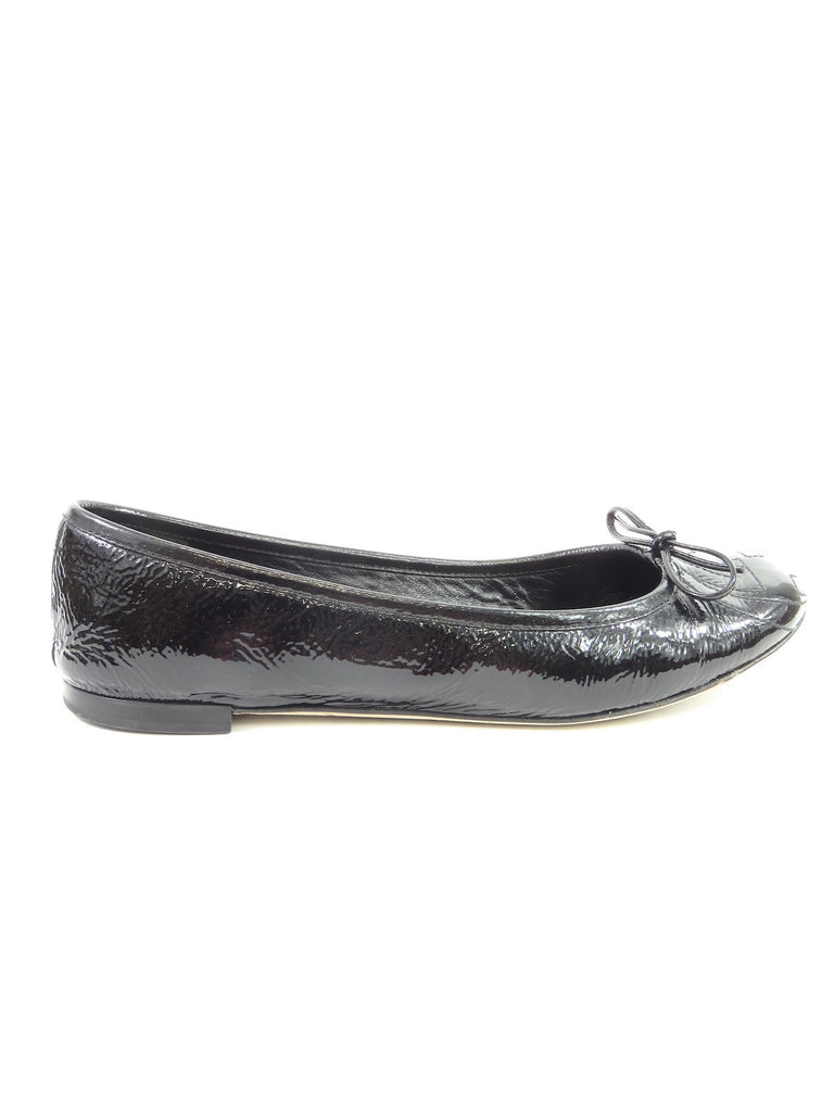 GUCCI Women Black Patent Leather Iconic GG Embroidered Logo Bow Ballerina Flats Shoes 38