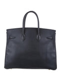 HERMES Birkin Purse 35 CM Blue Courchevel Leather Gold Hardware Box