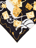 HERMES Black White Beige Gold Silk Scarf Accessory 70 CM Kelly Caleche