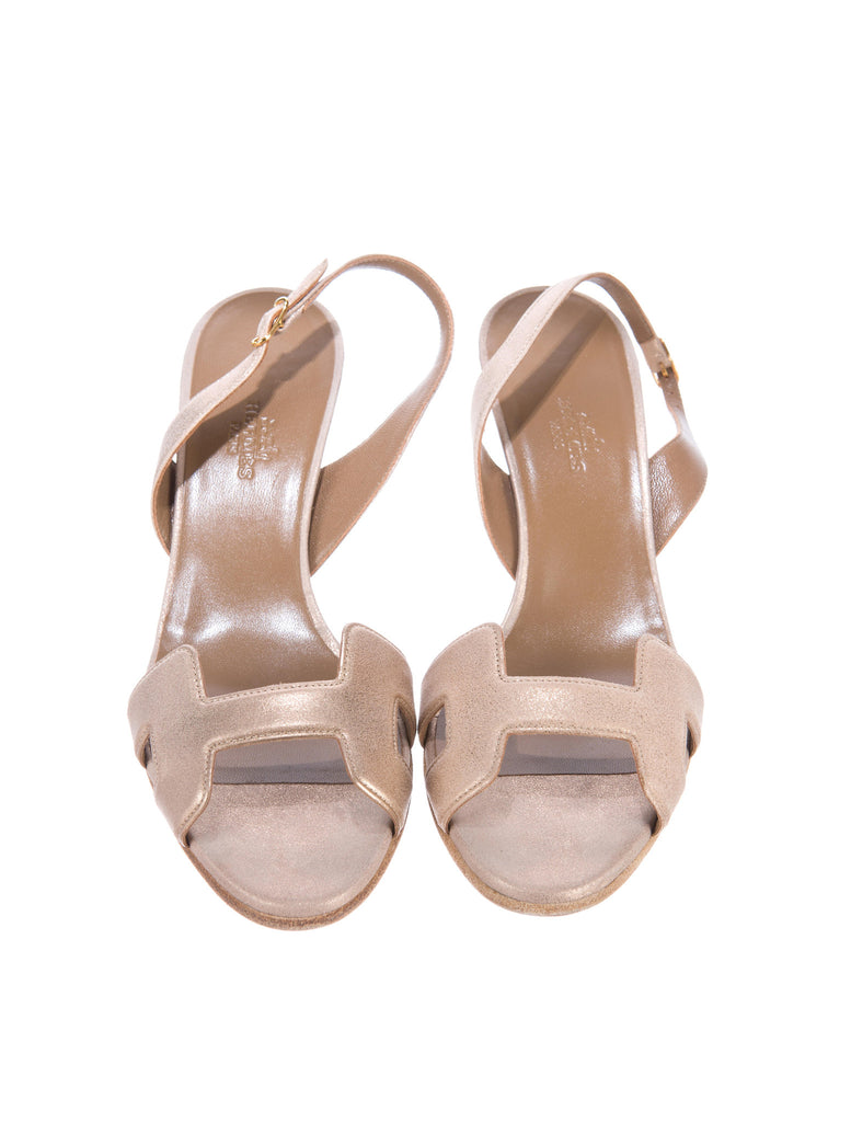 a4c5ac41e Hermes Lorena s WORTH · HERMES Women H Beige Suede Slingback Sandals Mules  Slip on Shoes Heels 39 ...