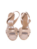 HERMES Women H Beige Suede Slingback Sandals Mules Slip on Shoes Heels 39