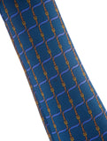 HERMES Men Blue Gold Belt Buckle Pattern Luxurious Silk Neck Tie Accessory