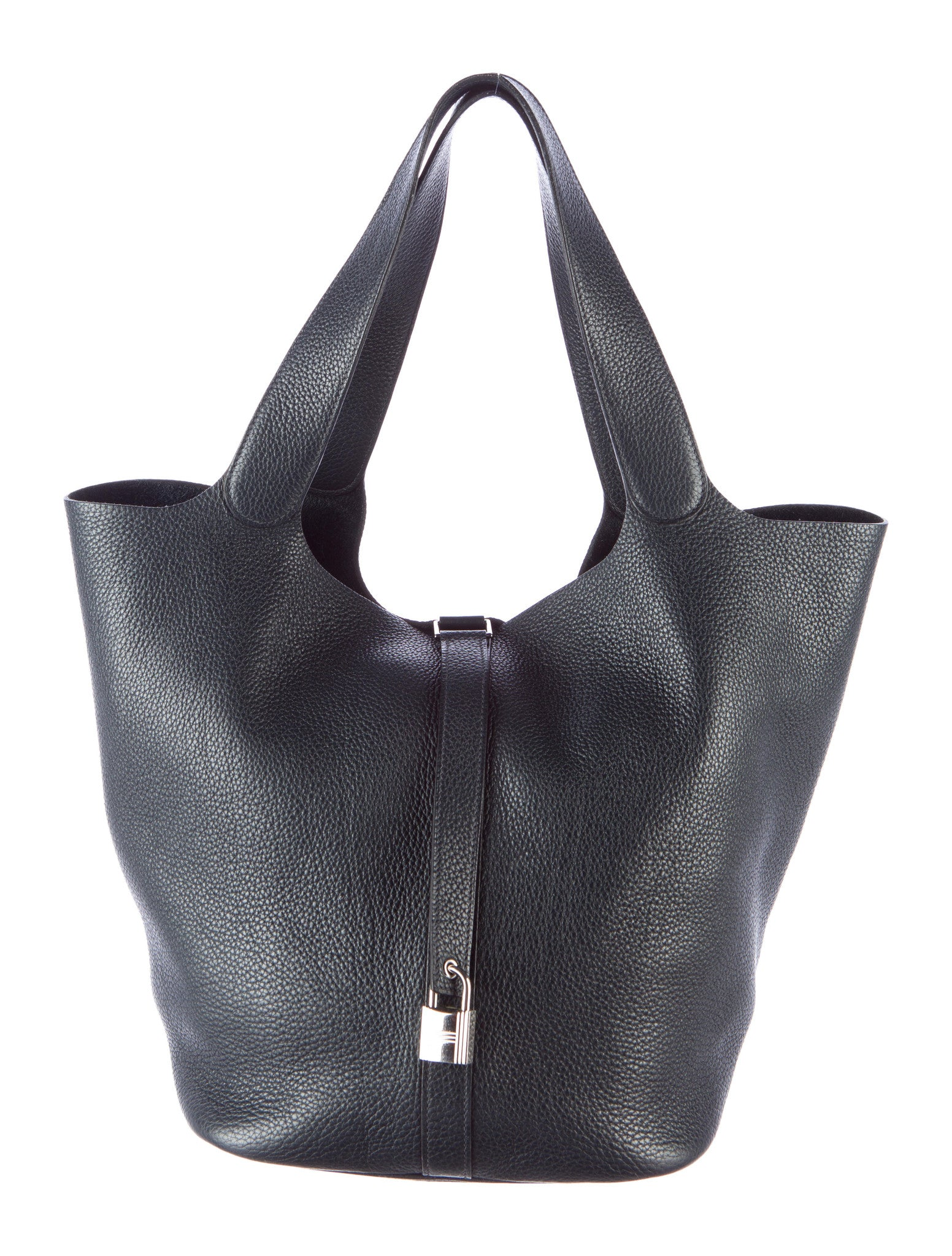 0a1db257c408 HERMES Black Picotin Lock Clemence Leather Palladium Hardware Purse  Shoulder Bag