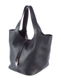 HERMES Black Picotin Lock Clemence Leather Palladium Hardware Purse Shoulder Bag