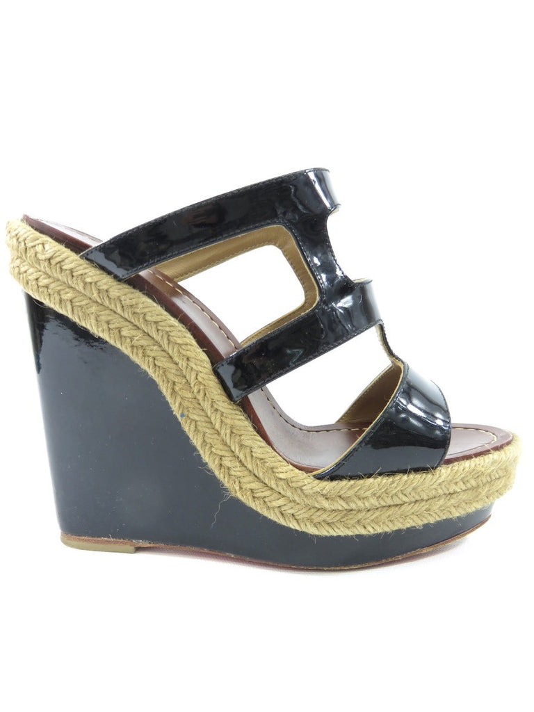 CHRISTIAN LOUBOUTIN wedges sandals black Lorena's WORTH
