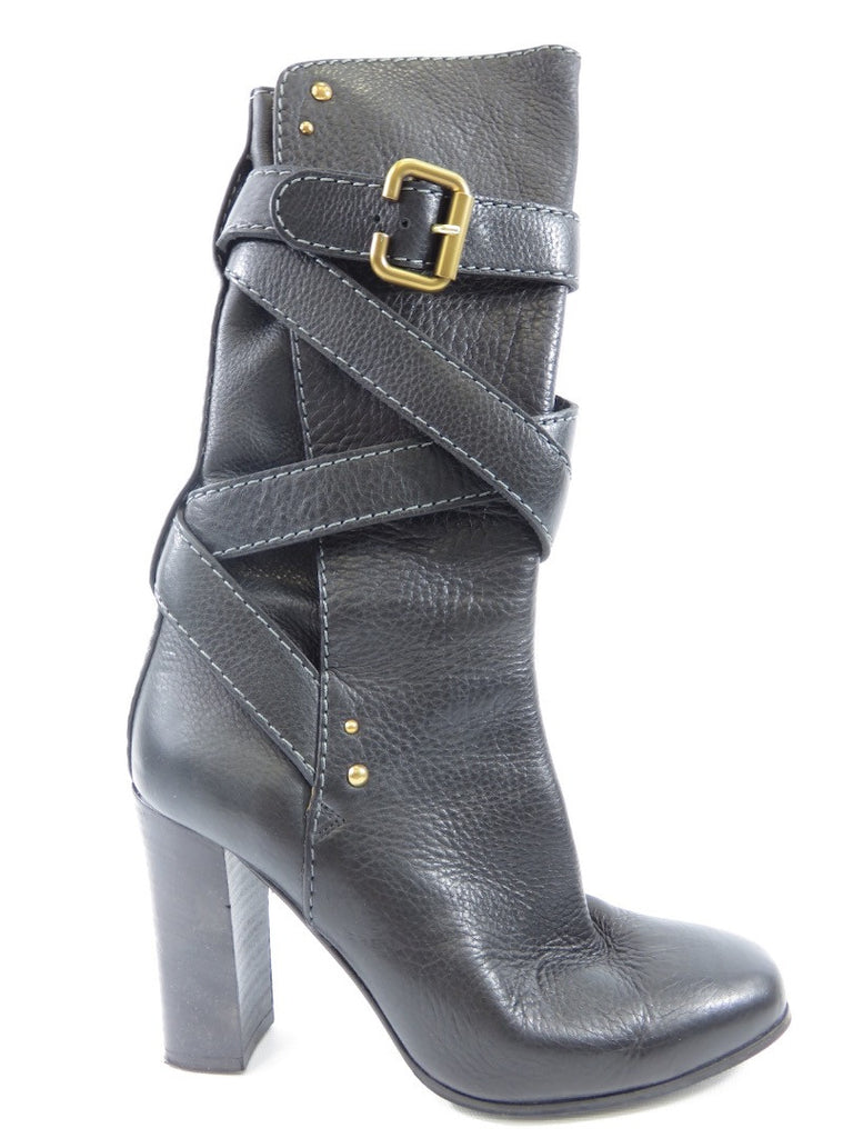 CHLOE Women Black Leather Gold Accent Wrap Around Square Heel Almond Toe Boot 39