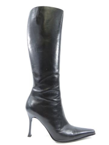 GIUSEPPE ZANOTTI Women Black Leather Tall High Boots Point Toe Stiletto Heel 39