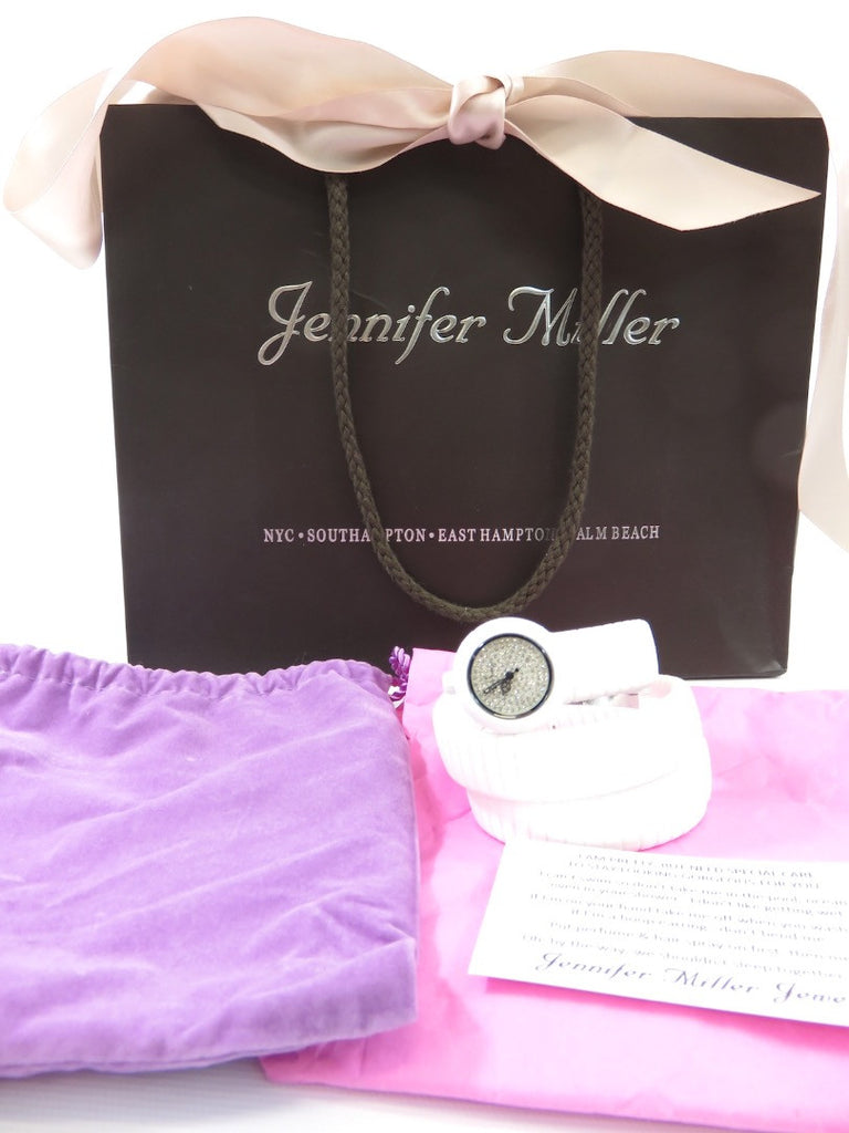 NEW! JENNIFER MILLER White Silicon Coil Swarovski Crystals Watch Accessory $228