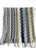 MISSONI Orange Label ZigZag Chevron Pattern Black Gray White Beige Fringe Scarf