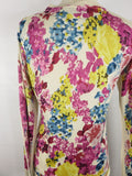 D&G DOLCE & GABBANA Women Multi Color Floral Cardigan Knit Sweater Size 44