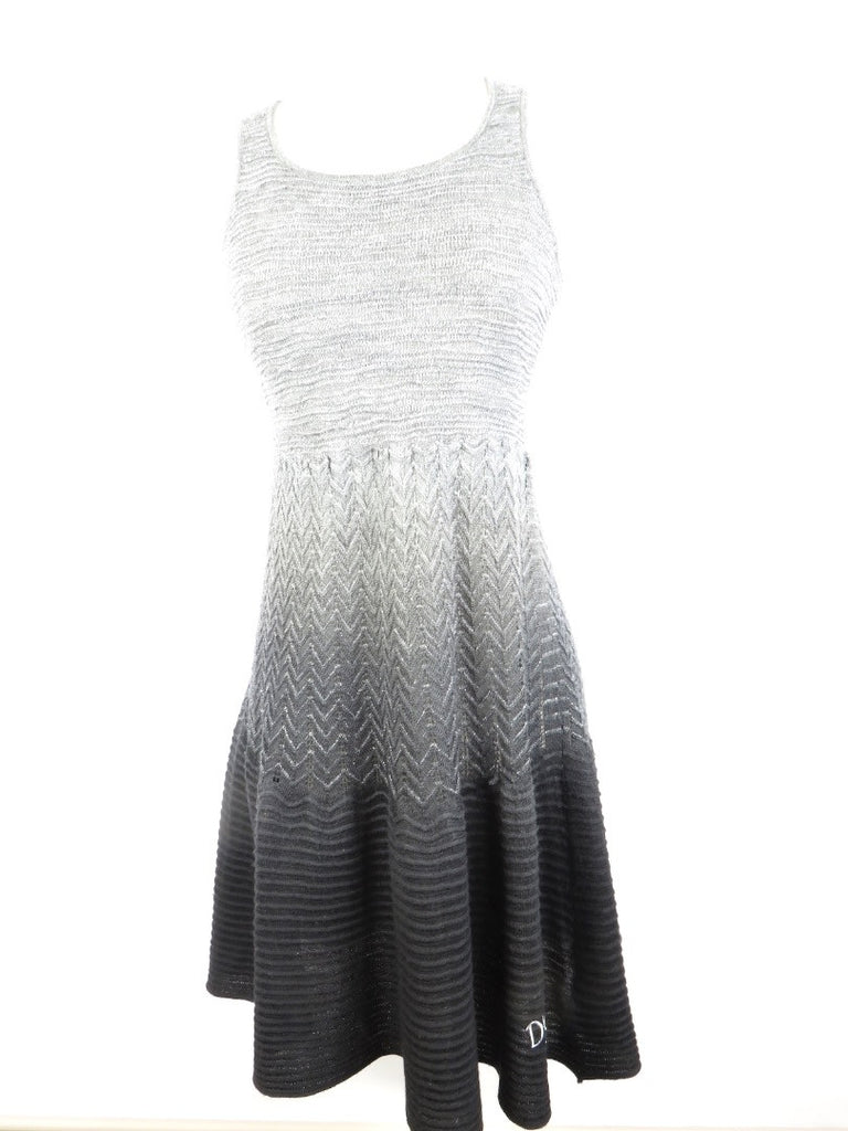 DESIGUAL Women Knit Gray Silver White Ombre Knit Sleeveless Dress Size M