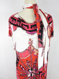 EMILIO PUCCI Women Pink Red MultiColor Boat Neck Short Sleeve Dress Belt/Scarf 6