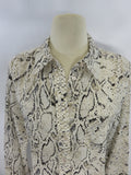 EQUIPMENT FEMME Women Beige Black Animal Print Long Sleeve Blouse Top Shirt M