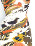 NEW! BLUMARINE Orange Brown Off White Animal Print One Shoulder Dress 42 $2399