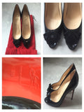 CHRISTIAN LOUBOUTIN Women Black Patent Leather Bow Peep Toe Shoes Pumps Heels 39