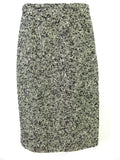BADGLEY MISCHKA Women Black Gold Off White Knit Boucle Classic Pencil Skirt Sz 6