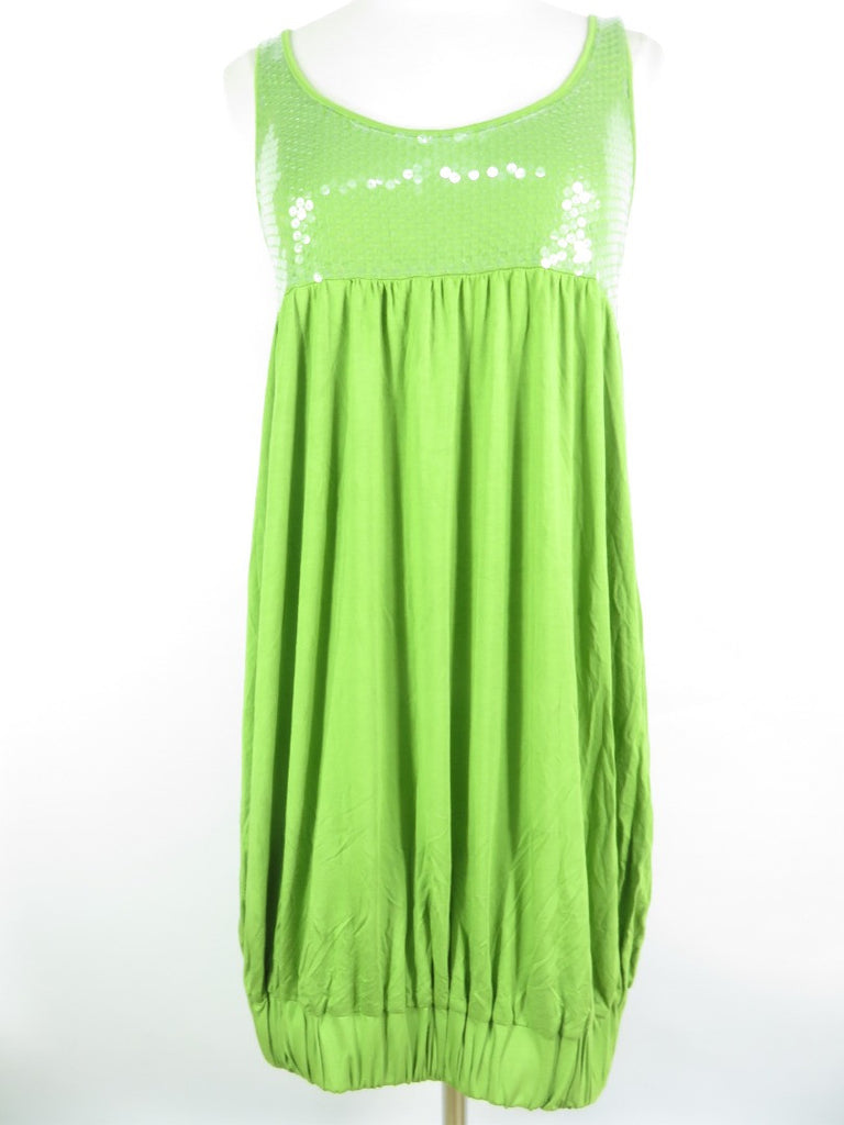 LAROK Women Lime Green Sleeveless Top Dress Clear Sequins Bubble Dress Size M