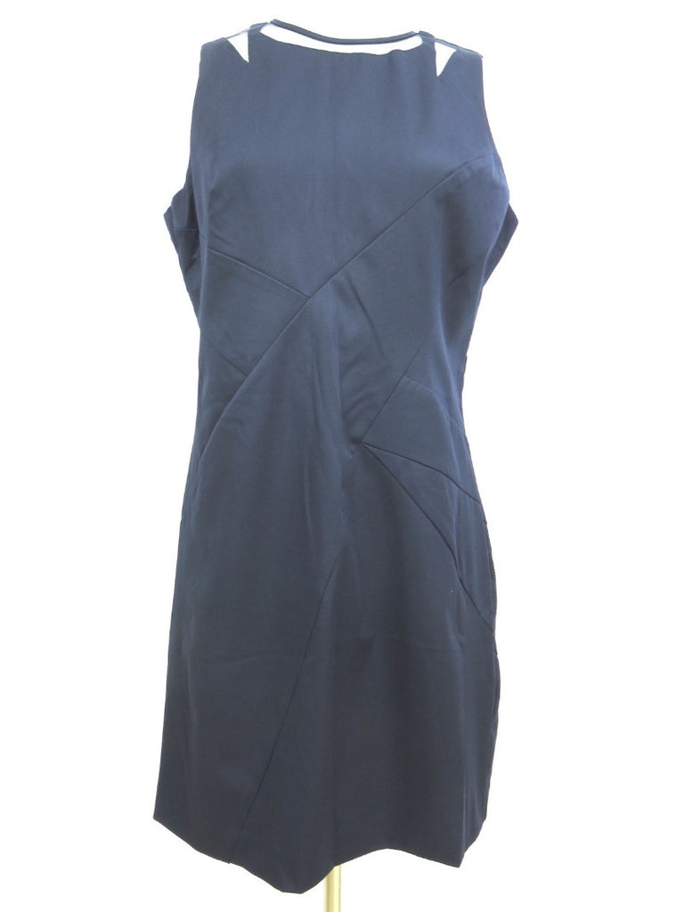 NEW! MICHAEL KORS Women Midnight Blue Mesh Insert Sleeveless Shift Dress 10 $180