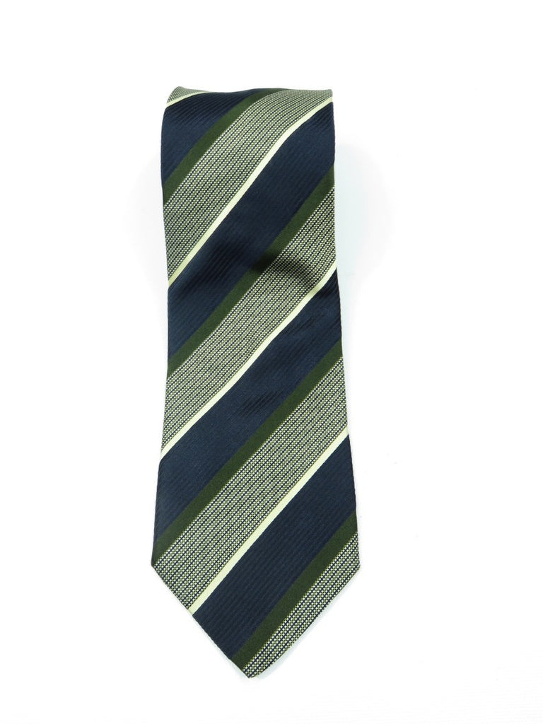 BALLY Men Green Blue Diagonal Stripes Geometrical Self Tie Silk Necktie
