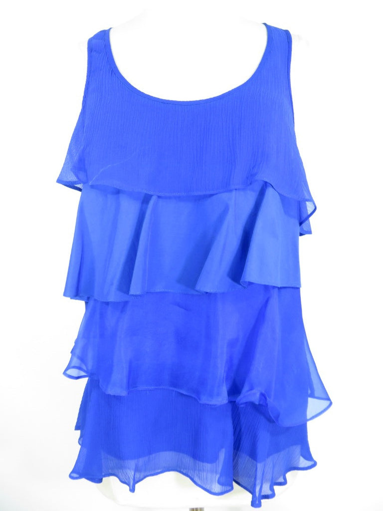 MADISON MARCUS Women Blue Lined Sheer Ruffles Sleeveless Blouse Top Shirt Size S