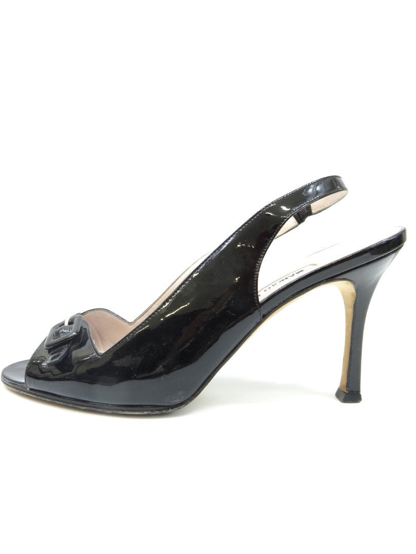 53045d0f9e2 MANOLO BLAHNIK Women Black Patent Leather Slingback Open Toe Heels Shoes  37.5