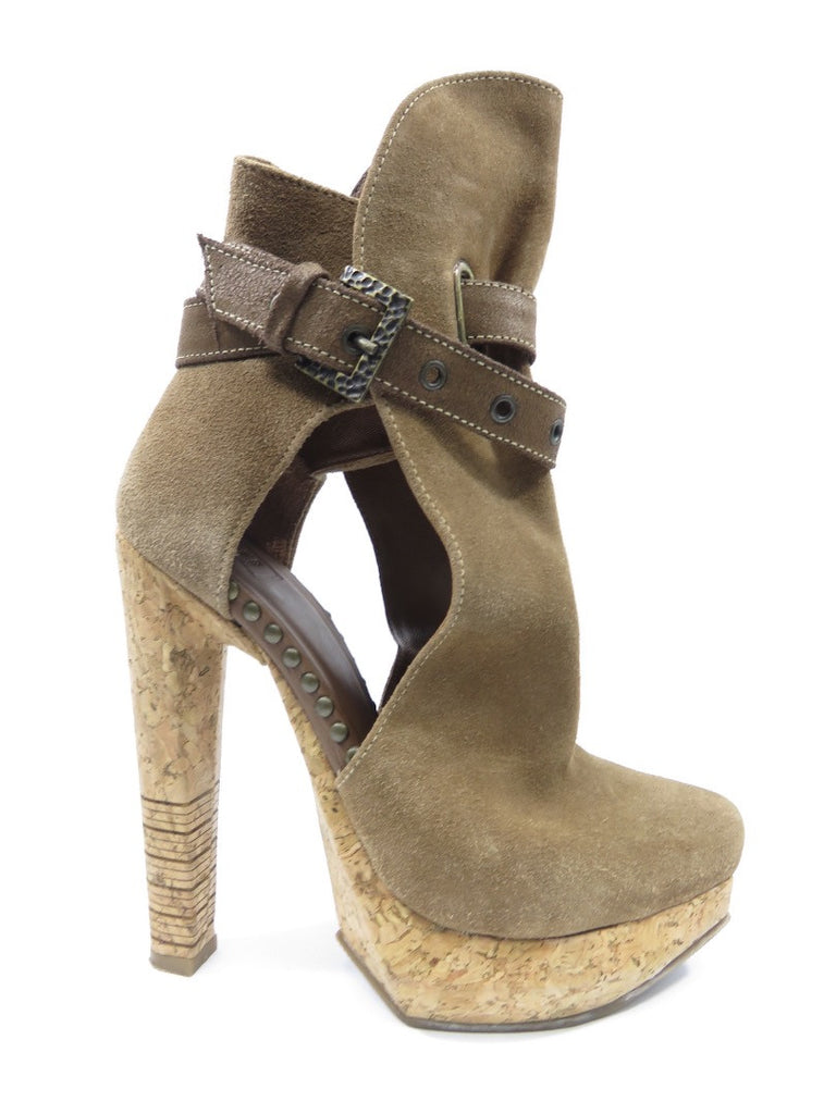 HERVE LEGER Women Fabiana Cut Out Boots Booties Platform Taupe Light Brown 36