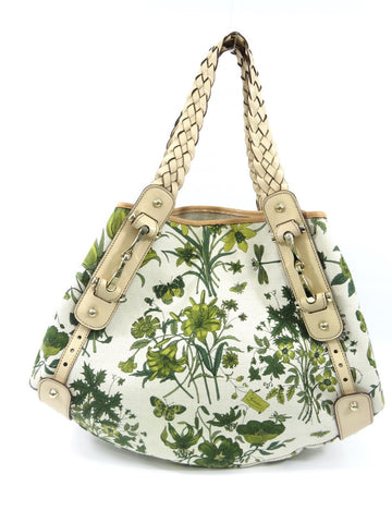 GUCCI Women Green Off White Floral Canvas Beige Leather Hobo Shoulder Bag Purse