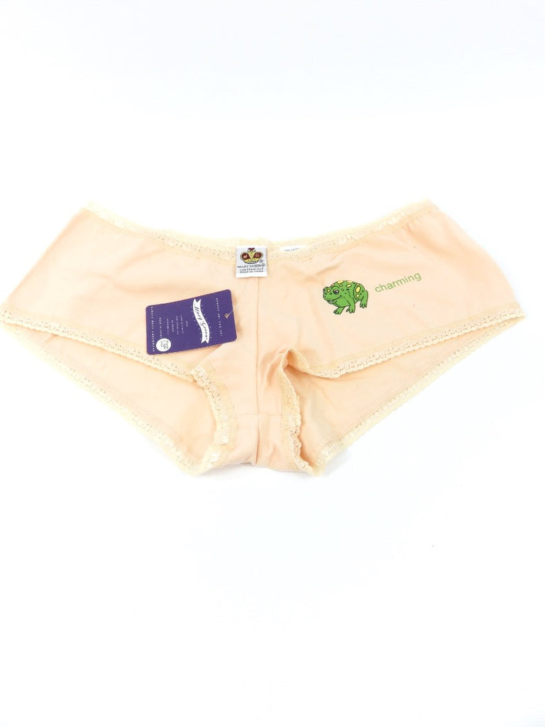 NEW! MARY GREEN  Women Bikini Panties Underwear Peach Charming Frog Trim M $18