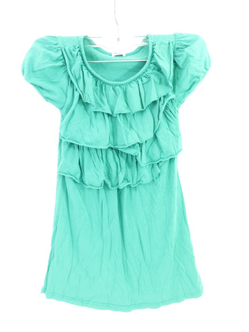 ELLA MOSS Kids Girls Aqua Blue Ruffle Top Shirt Size 5 6