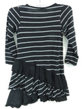 SPLENDID Kids Girls Black Grey Stripe Ruffle Dress Size 6x 7