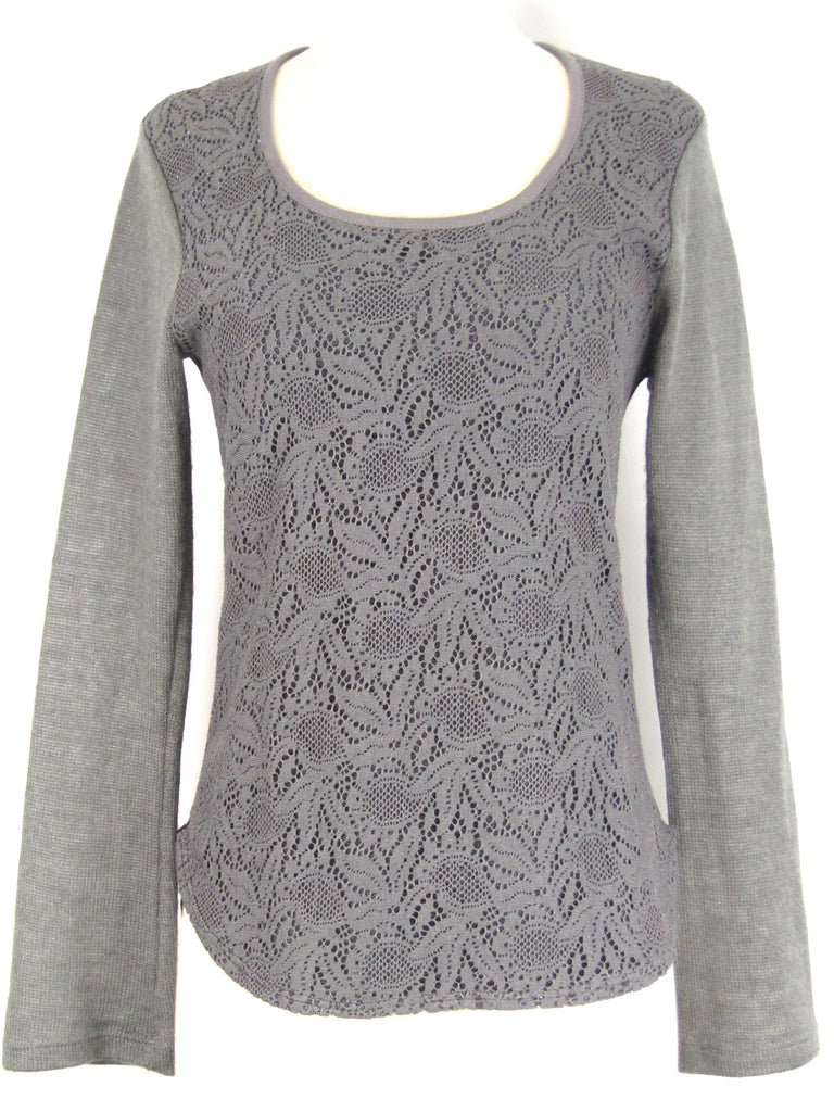 CUSTO BARCELONA Women Gray Sparkle Knit Top Shirt Size M