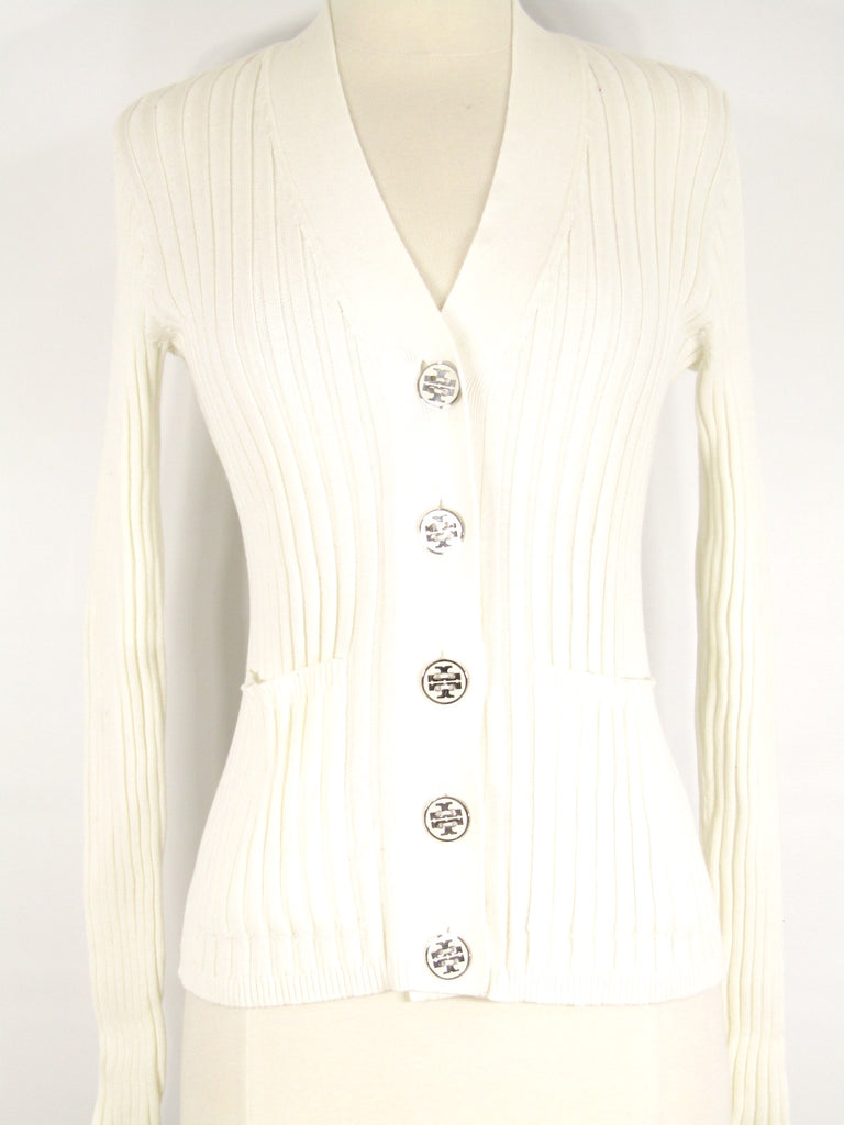 TORY BURCH Women Off White Silver Button Up Knit Sweater Top Shirt Size S