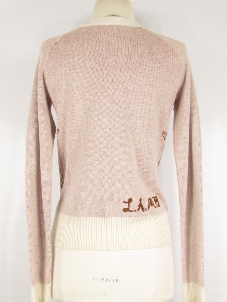 ... L.A.M.B. Women Light Pink Cowboy And Horse Button Down Cardigan Sweater  Size P ... 4c0f7fd36