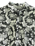 D & G DOLCE & GABBANA Men Black Short Sleeve Floral Button Down Shirt Size 42