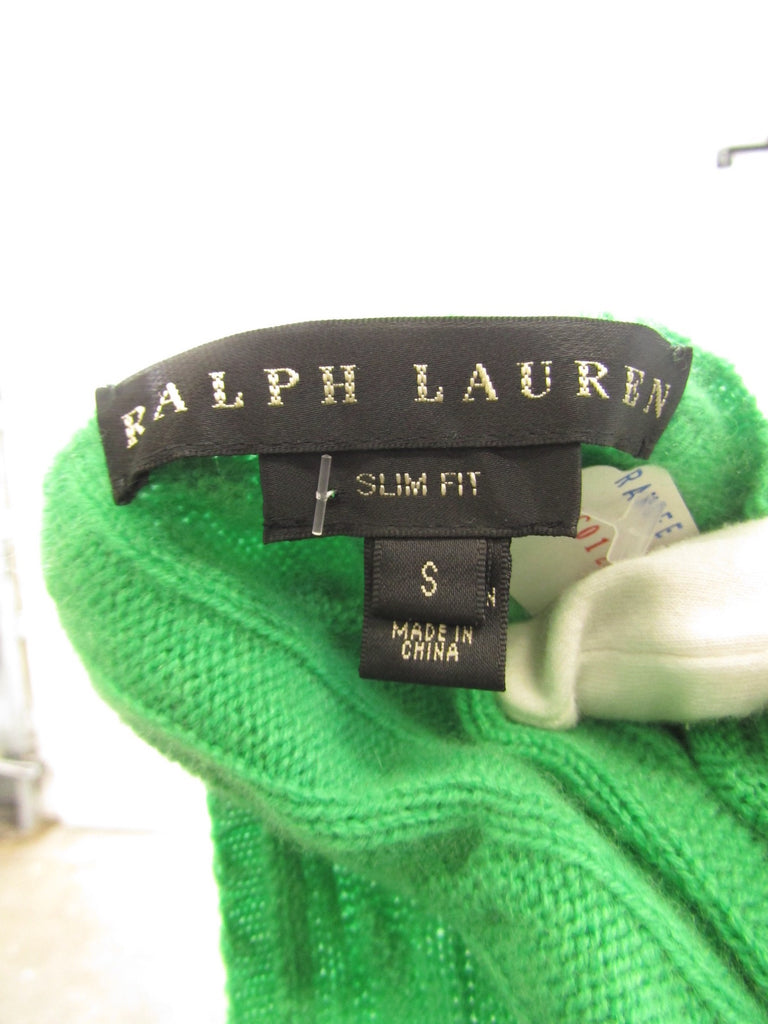 Ralph Lauren Women Green Cable Knit Sweater Top Shirt Size S
