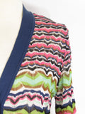 M MISSONI Women Multi Color Iconic Chevron Pattern Knit Long Sleeve Cardigan Sweater