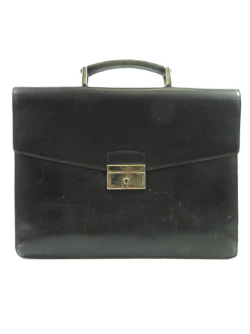 PRADA Women Men Unisex Black Saffiano Leather Silver Buckle Briefcase Attache Case