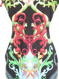 ROBERTO CAVALLI Women Multi Color Snake Short Sleeve Dress SIze 44