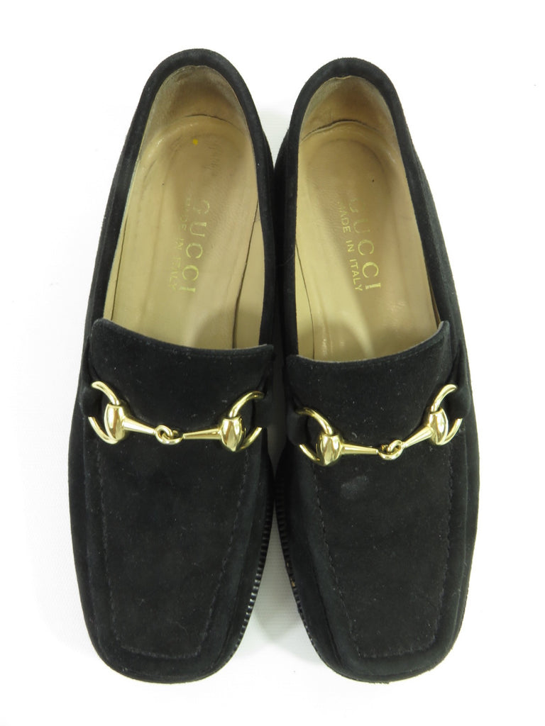 f8f24464b75d ... GUCCI Kids Boys Black Suede Gold Buckle Moccasins Loafers Shoes Size  4.5 B ...
