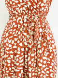 DIANE VON FURSTENBERG Women Brick Red White Print Sleeveless Belted Dress Size 2