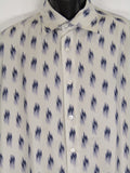 ARMANI COLLEZIONI Men Off White Blue Silk Long Sleeve Button Down Shirt Size L