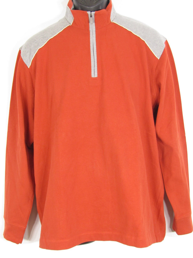 New Zegna Sport Men Orange Grey Long Sleeve Half Zipper