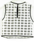 INTERMIX Women Black White Squares Pattern Sheer Sleeveless Cropped Top Blouse Shirt P
