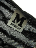 MISSONI Women Black Iconic Knit Pattern Loose Fit Boat Neck Dolman Top Shirt Blouse 2