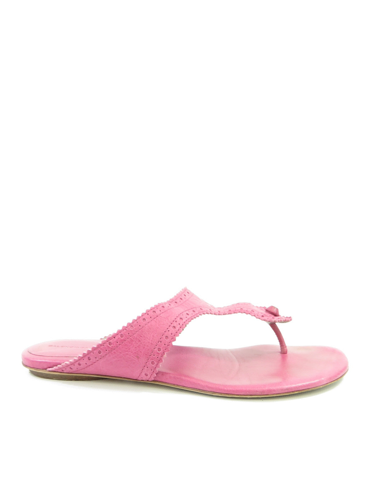 55539fc6d78 BALENCIAGA Women Pink Leather Thong Sandals Flip Flops Fats Size 39