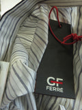 NEW! GF FERRE Men Navy, Grey White Stripes Long Sleeve Button Down Shirt Size XL