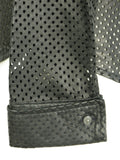 THE WRIGHTS Women Black Perforated Faux Leather Button Down Cuffed Blouse Shirt 10