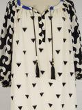 DIANE VON FURSTENBERG Women Black White Blue Triangle Tunic Dress Size 8